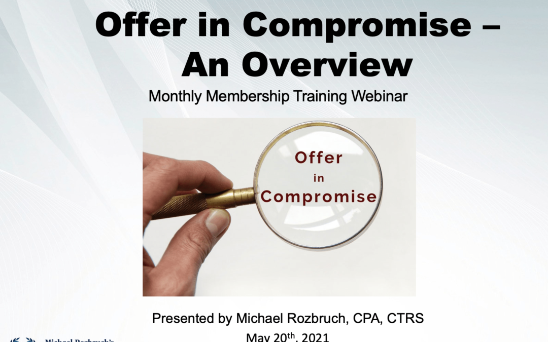 Offer in Compromise – Doubt as to Collectability